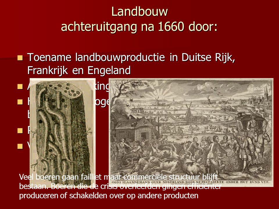 Landbouw achteruitgang na 1660 door: Toename landbouwproductie in Duitse Rijk, Frankrijk en Engeland Toename landbouwproductie in Duitse Rijk, Frankri