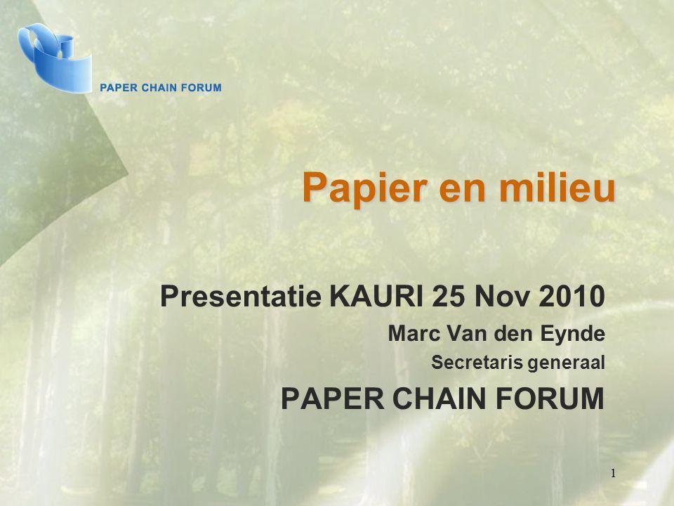 1 Papier en milieu Presentatie KAURI 25 Nov 2010 Marc Van den Eynde Secretaris generaal PAPER CHAIN FORUM