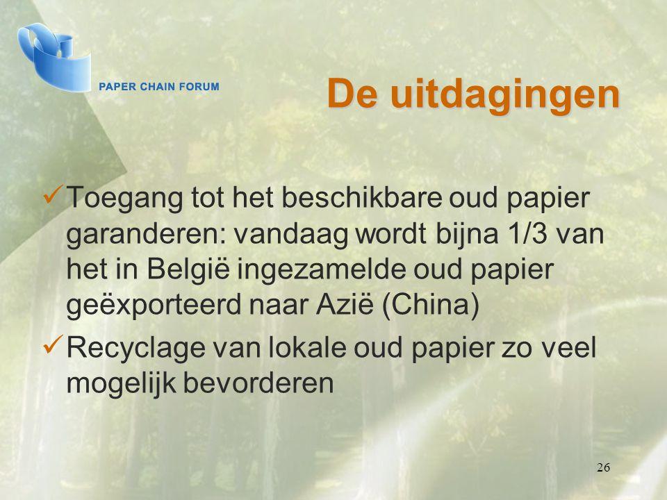 26 De uitdagingen Toegang tot het beschikbare oud papier garanderen: vandaag wordt bijna 1/3 van het in België ingezamelde oud papier geëxporteerd naa
