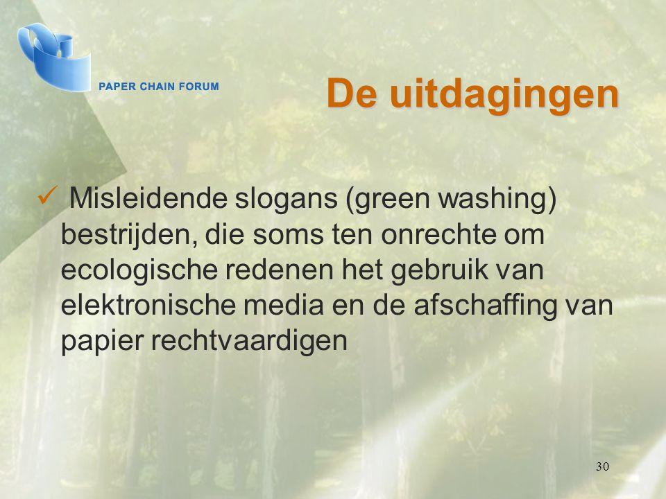 30 De uitdagingen Misleidende slogans (green washing) bestrijden, die soms ten onrechte om ecologische redenen het gebruik van elektronische media en de afschaffing van papier rechtvaardigen