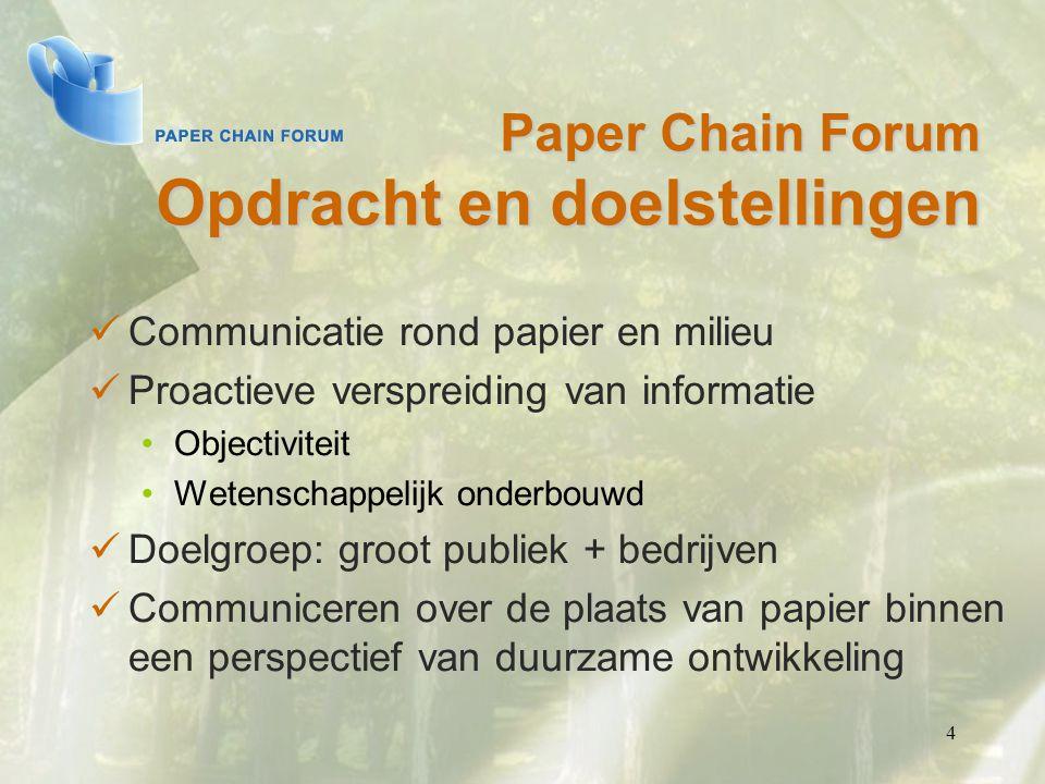 4 Paper Chain Forum Opdracht en doelstellingen Communicatie rond papier en milieu Proactieve verspreiding van informatie Objectiviteit Wetenschappelij