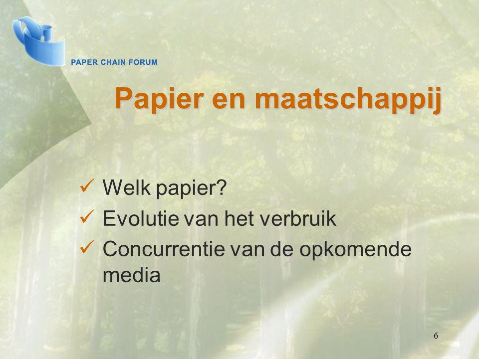 Papier en maatschappij Welk papier? Evolutie van het verbruik Concurrentie van de opkomende media 6
