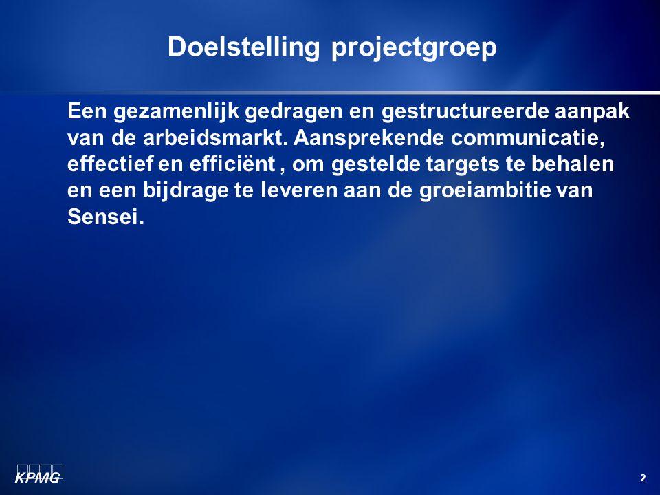 2 Doelstelling projectgroep Een gezamenlijk gedragen en gestructureerde aanpak van de arbeidsmarkt.