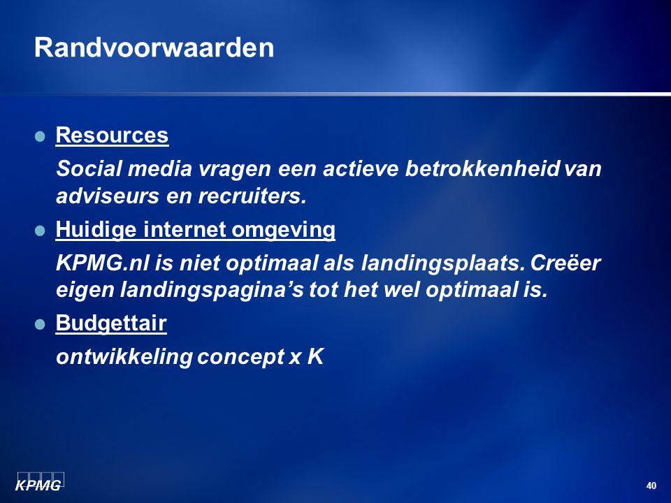 40 Randvoorwaarden Resources Social media vragen een actieve betrokkenheid van adviseurs en recruiters.