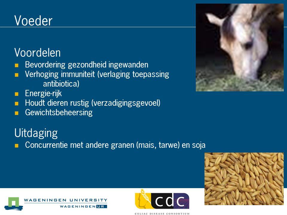 Voeder Voordelen Bevordering gezondheid ingewanden Verhoging immuniteit (verlaging toepassing antibiotica) Energie-rijk Houdt dieren rustig (verzadigi
