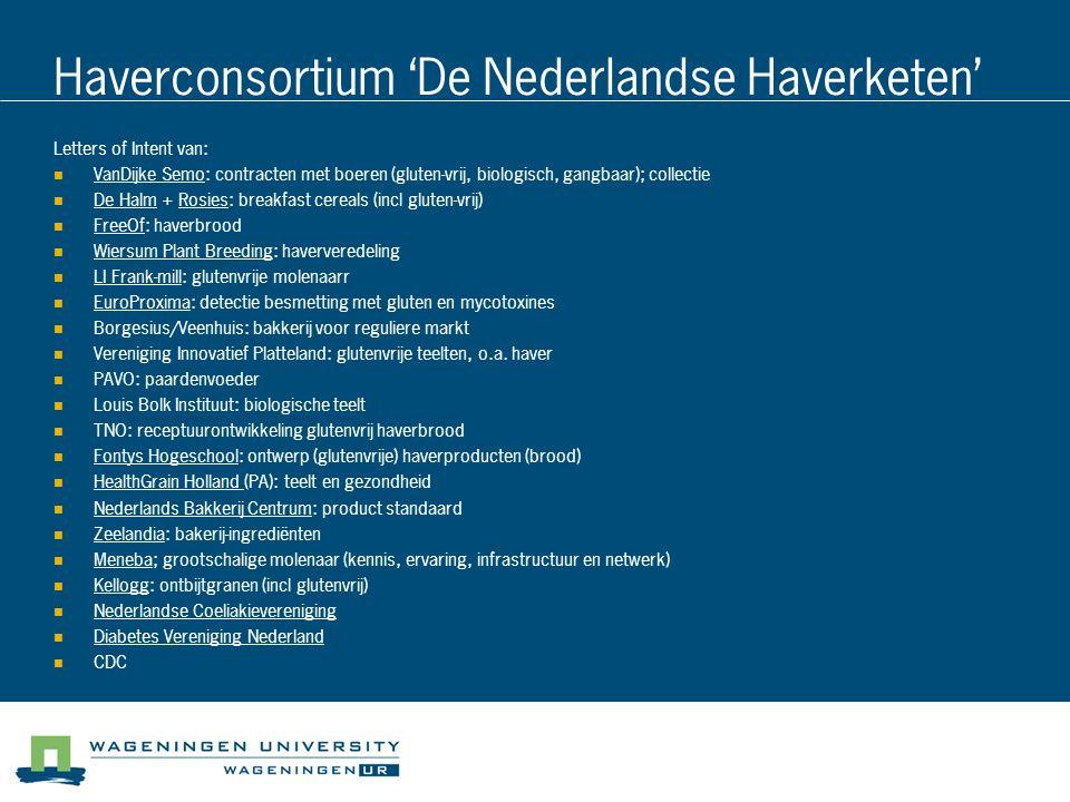 Haverconsortium 'De Nederlandse Haverketen' Letters of Intent van: VanDijke Semo: contracten met boeren (gluten-vrij, biologisch, gangbaar); collectie