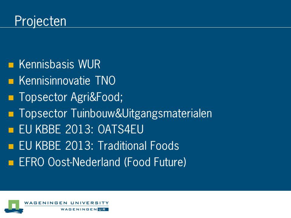 Projecten Kennisbasis WUR Kennisinnovatie TNO Topsector Agri&Food; Topsector Tuinbouw&Uitgangsmaterialen EU KBBE 2013: OATS4EU EU KBBE 2013: Traditional Foods EFRO Oost-Nederland (Food Future)