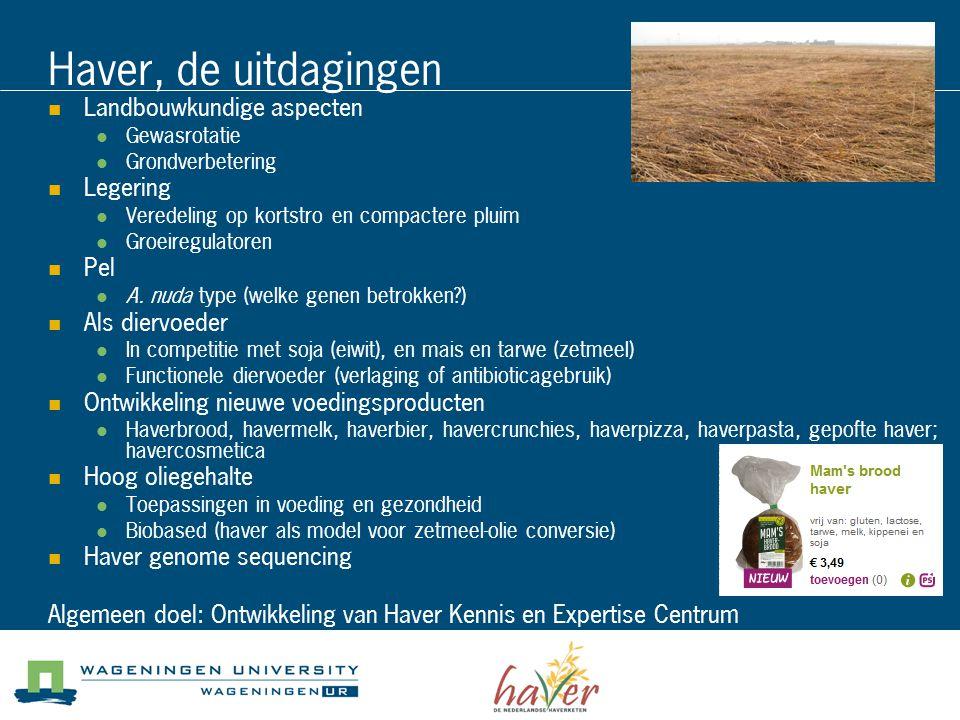 Haver, de uitdagingen Landbouwkundige aspecten Gewasrotatie Grondverbetering Legering Veredeling op kortstro en compactere pluim Groeiregulatoren Pel