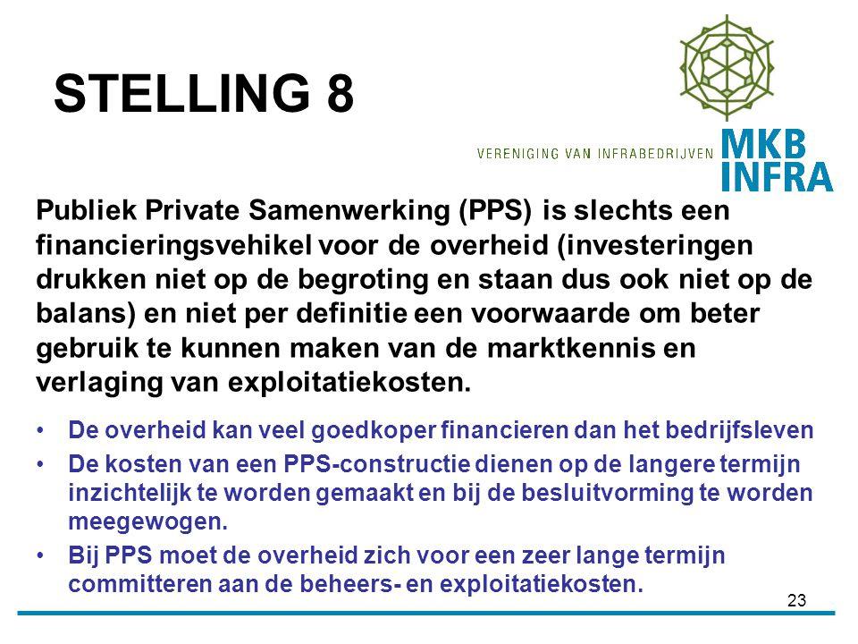 23 Publiek Private Samenwerking (PPS) is slechts een financieringsvehikel voor de overheid (investeringen drukken niet op de begroting en staan dus ook niet op de balans) en niet per definitie een voorwaarde om beter gebruik te kunnen maken van de marktkennis en verlaging van exploitatiekosten.