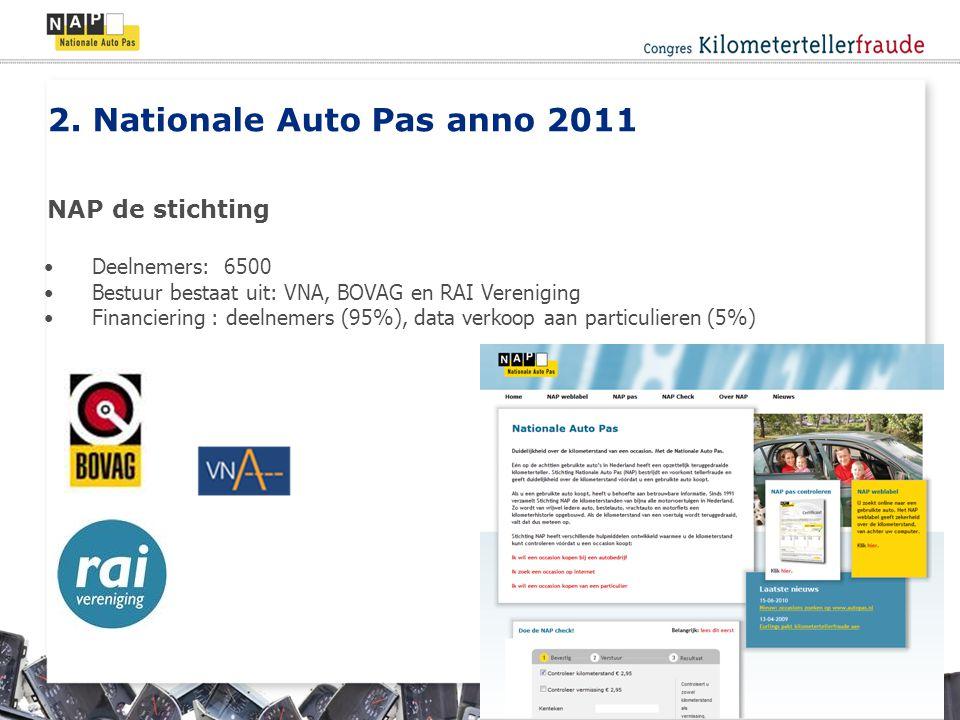 Deelnemers: 6500 Bestuur bestaat uit: VNA, BOVAG en RAI Vereniging Financiering : deelnemers (95%), data verkoop aan particulieren (5%) 2.