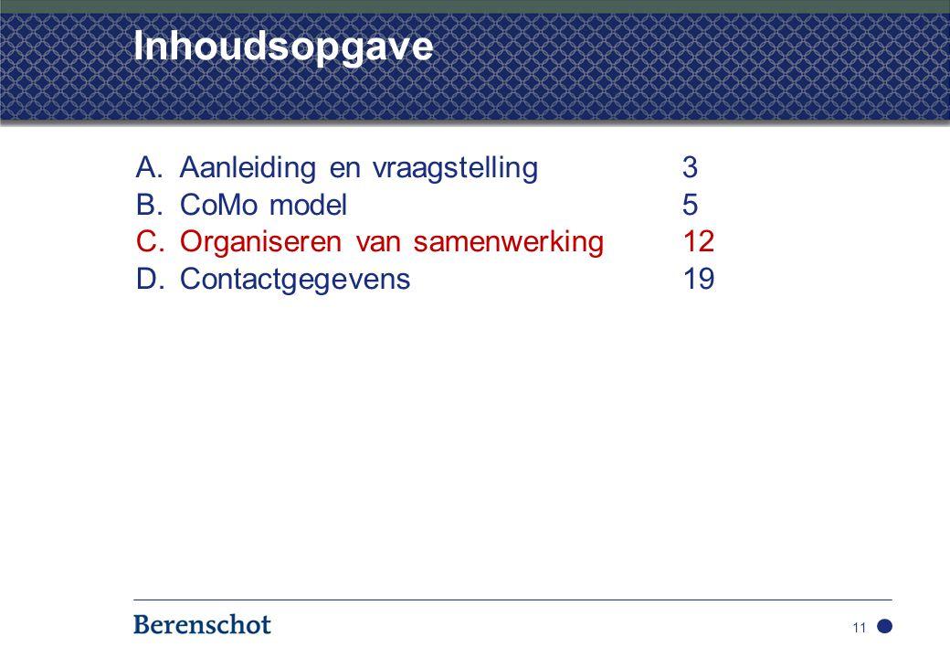 Inhoudsopgave A.Aanleiding en vraagstelling3 B.CoMo model5 C.Organiseren van samenwerking 12 D.Contactgegevens19 11