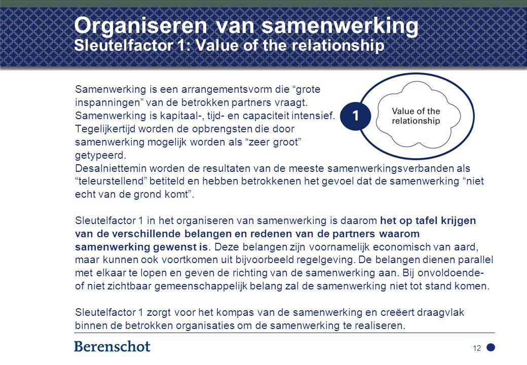 """Organiseren van samenwerking Sleutelfactor 1: Value of the relationship Samenwerking is een arrangementsvorm die """"grote inspanningen"""" van de betrokken"""