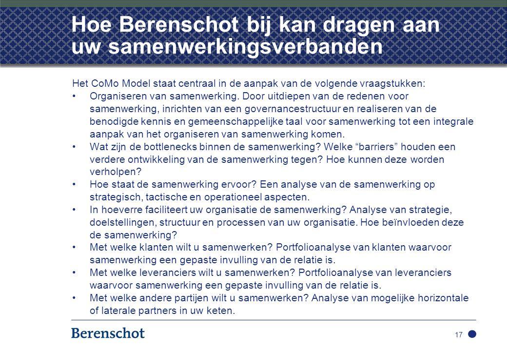 Hoe Berenschot bij kan dragen aan uw samenwerkingsverbanden Het CoMo Model staat centraal in de aanpak van de volgende vraagstukken: Organiseren van s