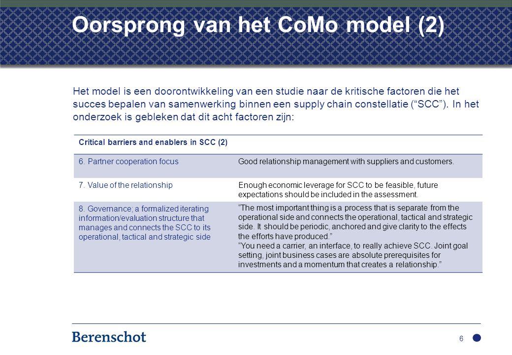 Oorsprong van het CoMo model (2) Het model is een doorontwikkeling van een studie naar de kritische factoren die het succes bepalen van samenwerking b