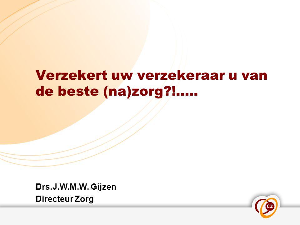 Verzekert uw verzekeraar u van de beste (na)zorg?!….. Drs.J.W.M.W. Gijzen Directeur Zorg