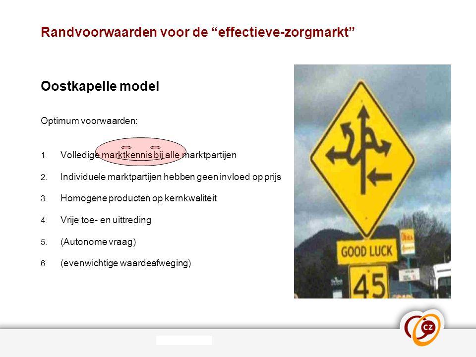 """Randvoorwaarden voor de """"effectieve-zorgmarkt"""" Oostkapelle model Optimum voorwaarden: 1. Volledige marktkennis bij alle marktpartijen 2. Individuele m"""