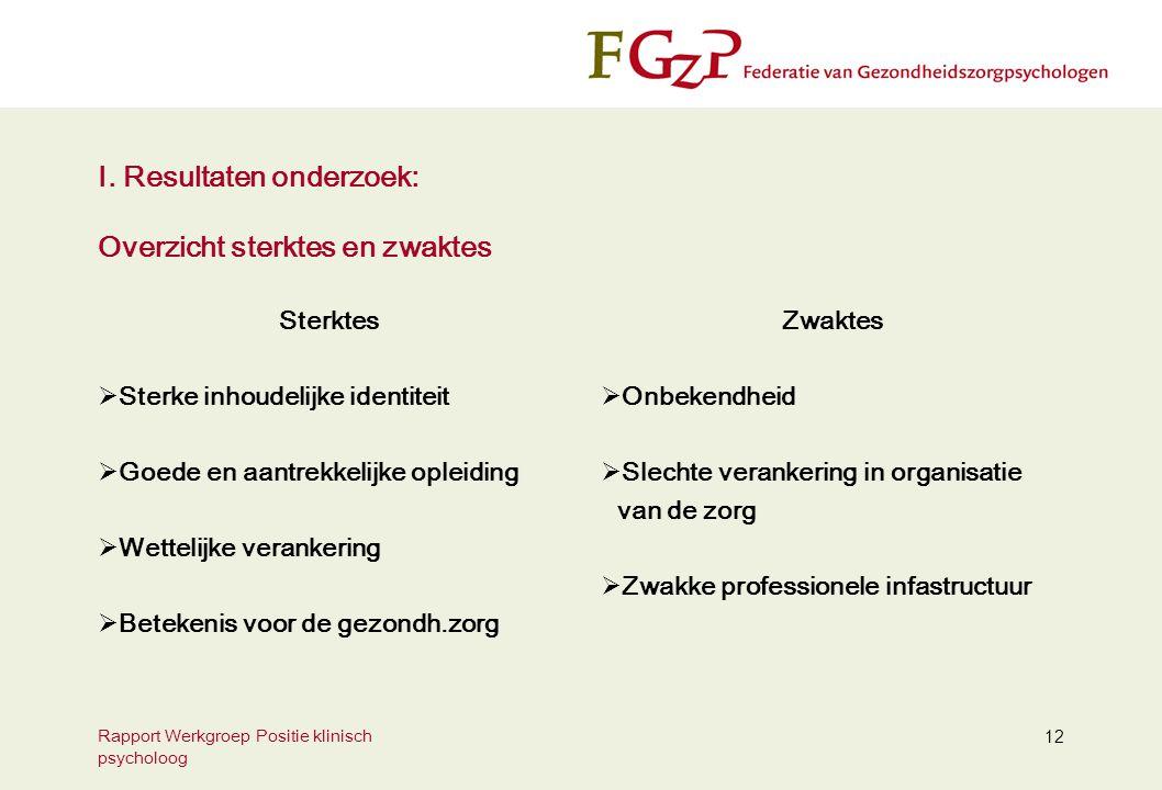 Rapport Werkgroep Positie klinisch psycholoog 12 I.