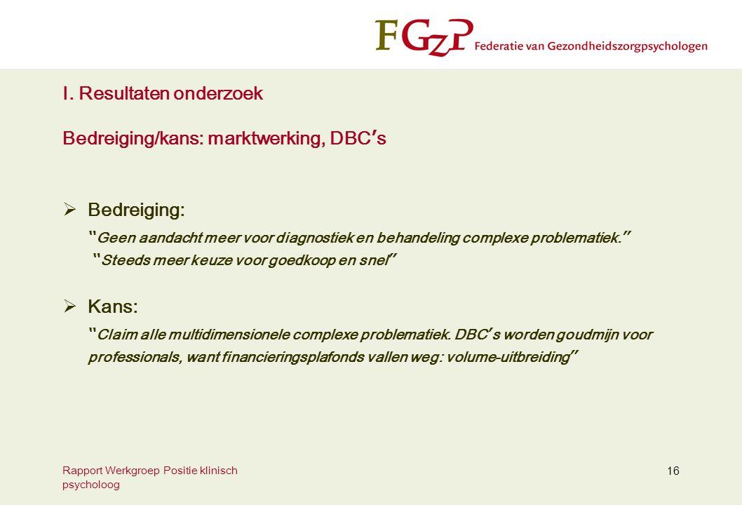 """Rapport Werkgroep Positie klinisch psycholoog 16 I. Resultaten onderzoek Bedreiging/kans: marktwerking, DBC ' s  Bedreiging: """" Geen aandacht meer voo"""