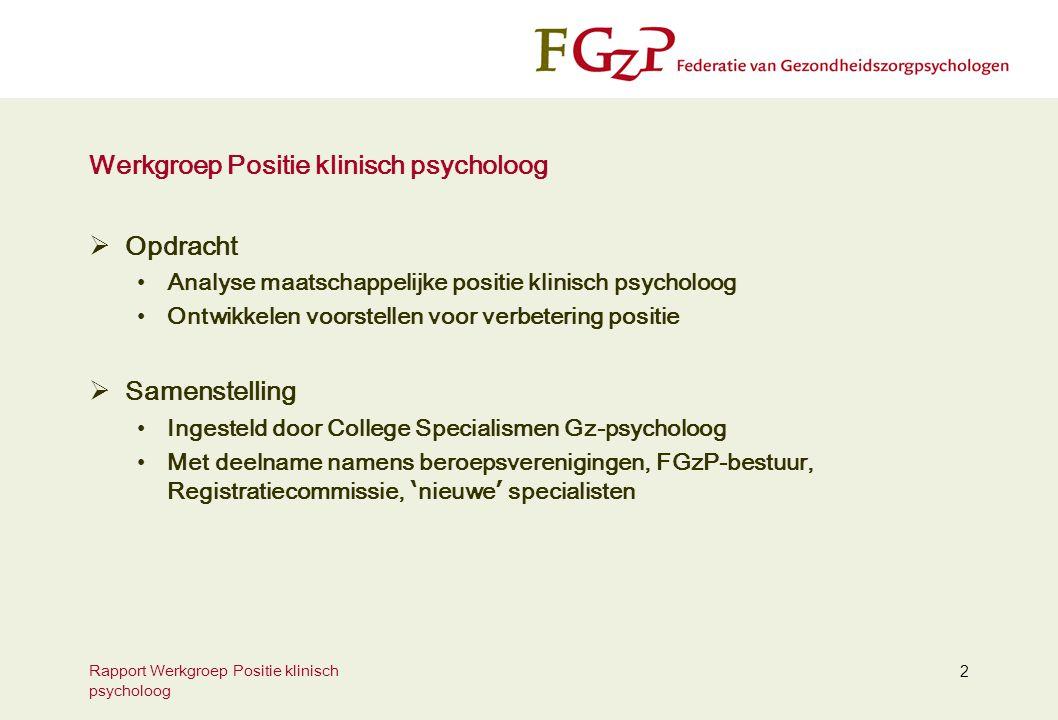 Rapport Werkgroep Positie klinisch psycholoog 2 Werkgroep Positie klinisch psycholoog  Opdracht Analyse maatschappelijke positie klinisch psycholoog