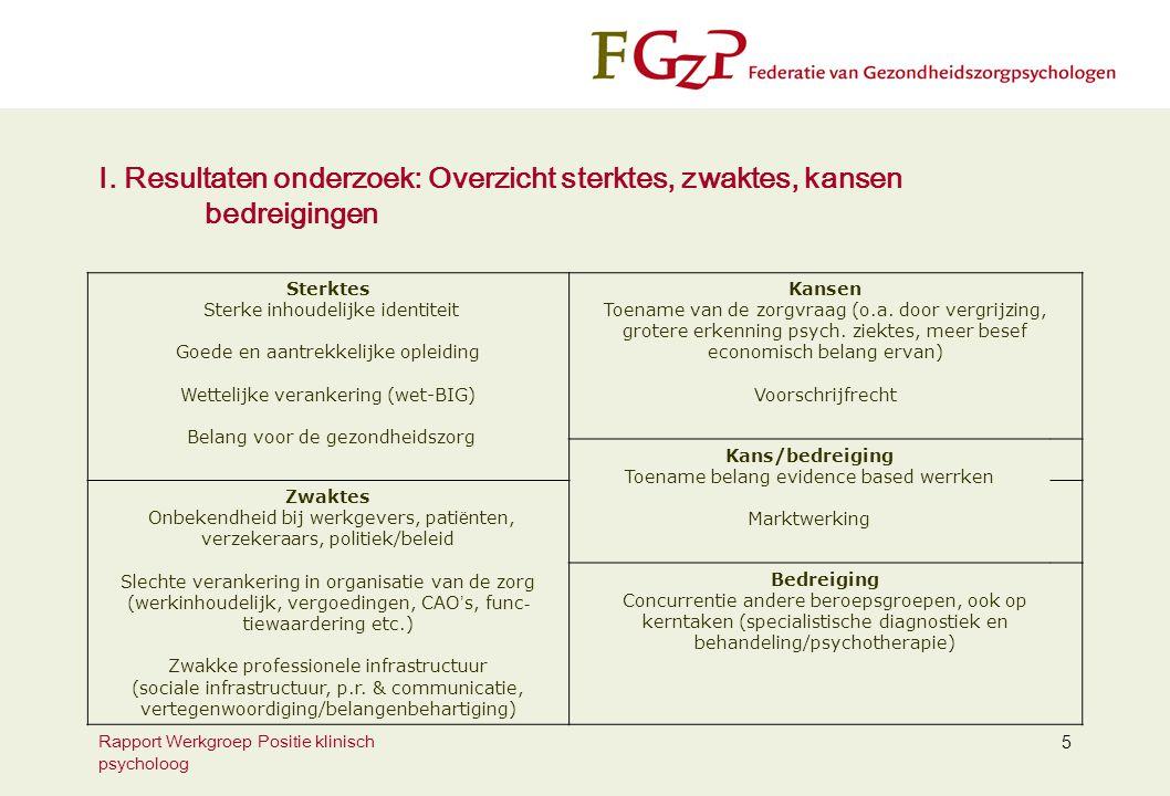 Rapport Werkgroep Positie klinisch psycholoog 5 I.