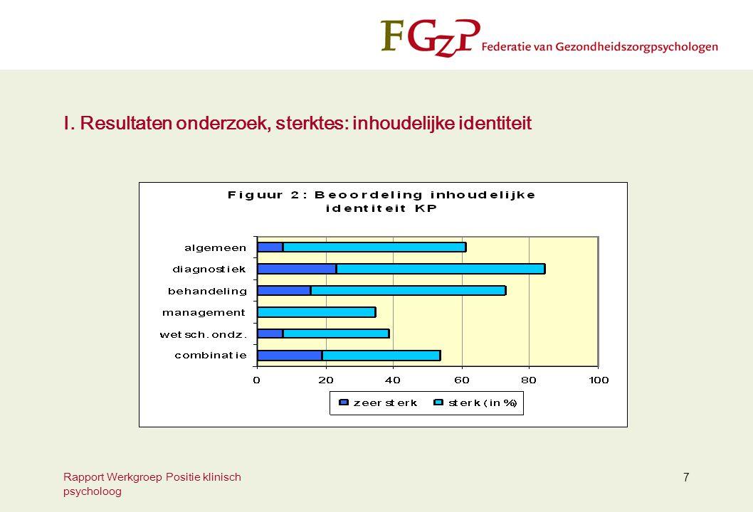 Rapport Werkgroep Positie klinisch psycholoog 7 I. Resultaten onderzoek, sterktes: inhoudelijke identiteit