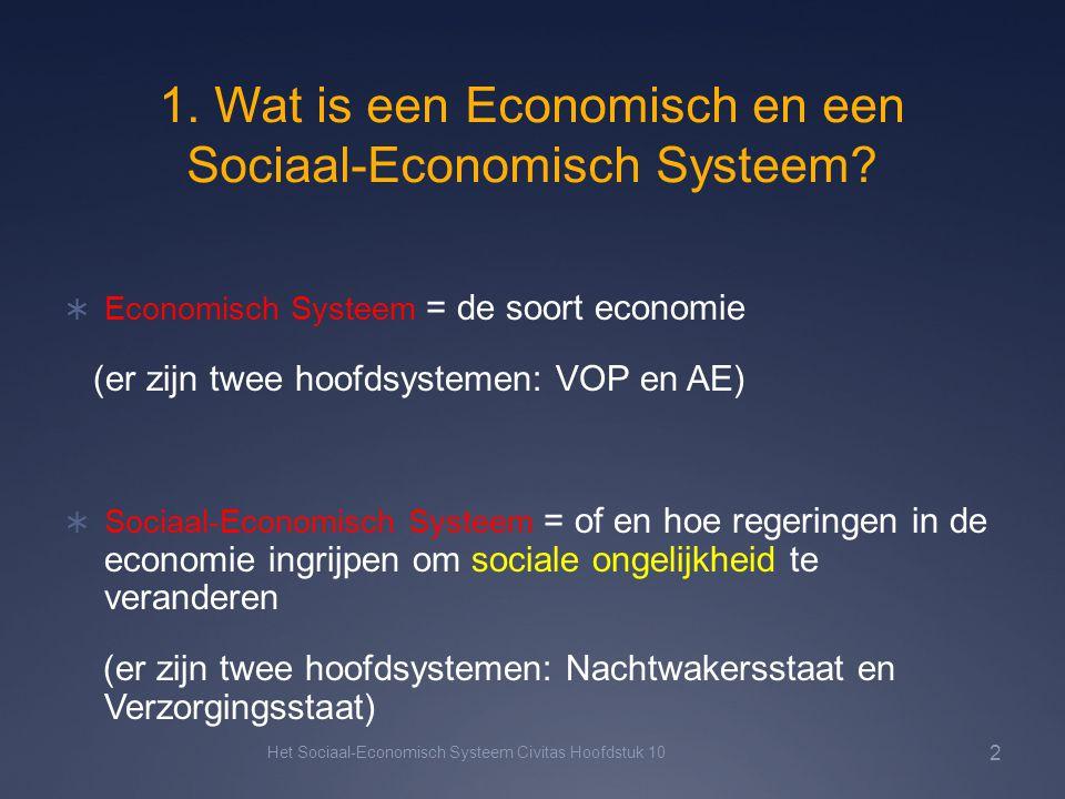 1. Wat is een Economisch en een Sociaal-Economisch Systeem?  Economisch Systeem = de soort economie (er zijn twee hoofdsystemen: VOP en AE)  Sociaal