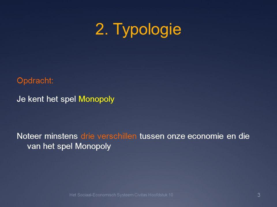 2. Typologie Opdracht: Je kent het spel Monopoly Noteer minstens drie verschillen tussen onze economie en die van het spel Monopoly Het Sociaal-Econom