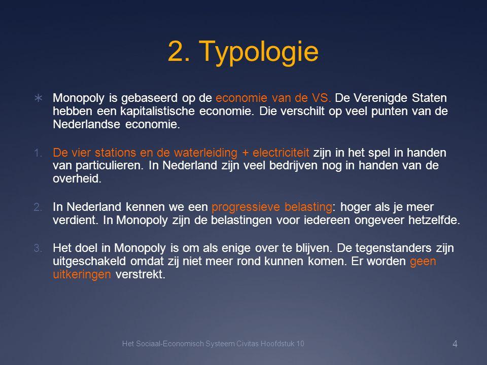 2. Typologie  Monopoly is gebaseerd op de economie van de VS. De Verenigde Staten hebben een kapitalistische economie. Die verschilt op veel punten v