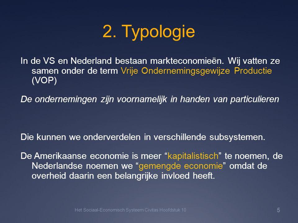 2. Typologie In de VS en Nederland bestaan markteconomieën. Wij vatten ze samen onder de term Vrije Ondernemingsgewijze Productie (VOP) De onderneming