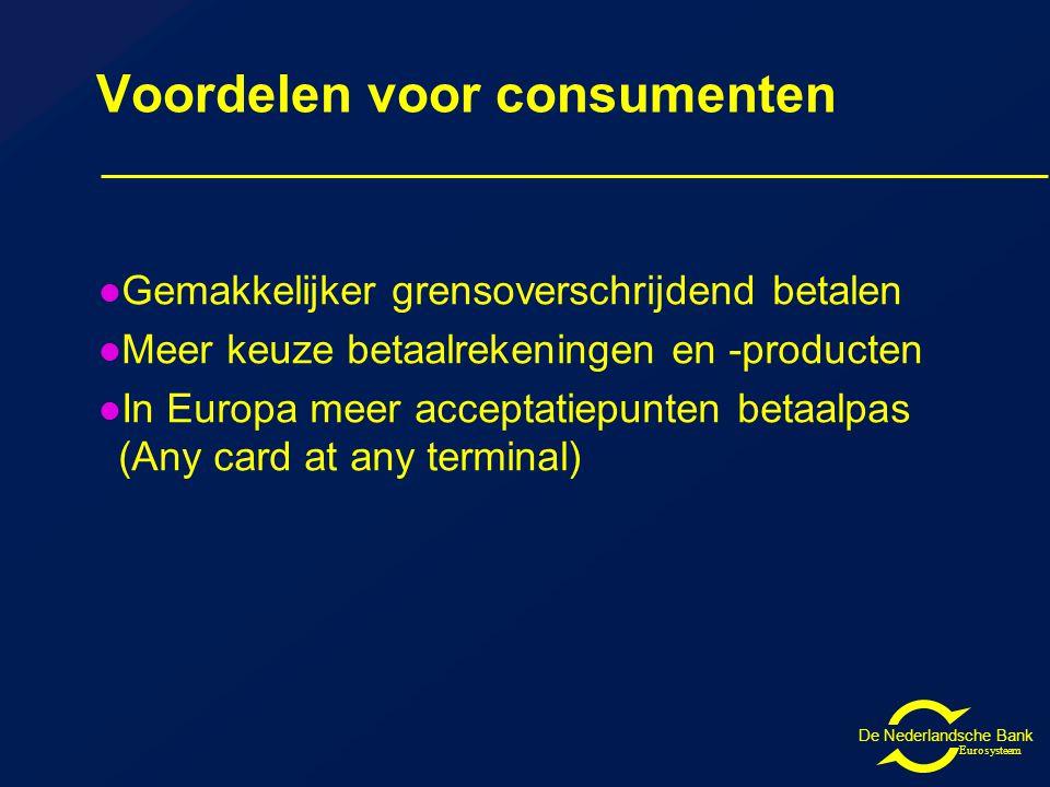 De Nederlandsche Bank Eurosysteem Voordelen voor consumenten Gemakkelijker grensoverschrijdend betalen Meer keuze betaalrekeningen en -producten In Europa meer acceptatiepunten betaalpas (Any card at any terminal)