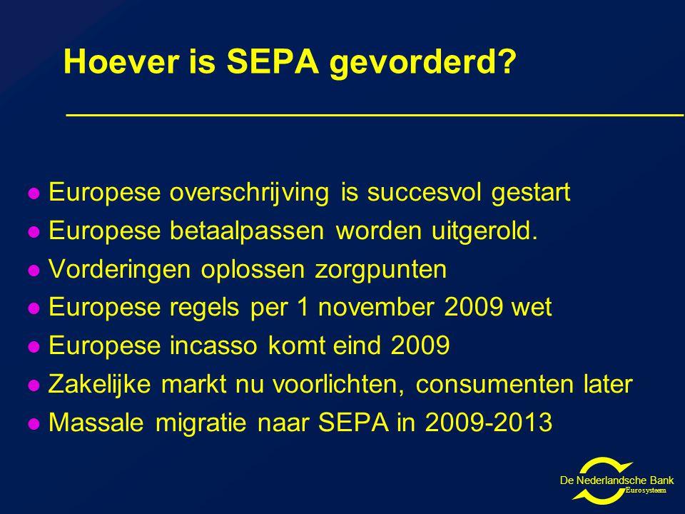 De Nederlandsche Bank Eurosysteem Hoever is SEPA gevorderd.