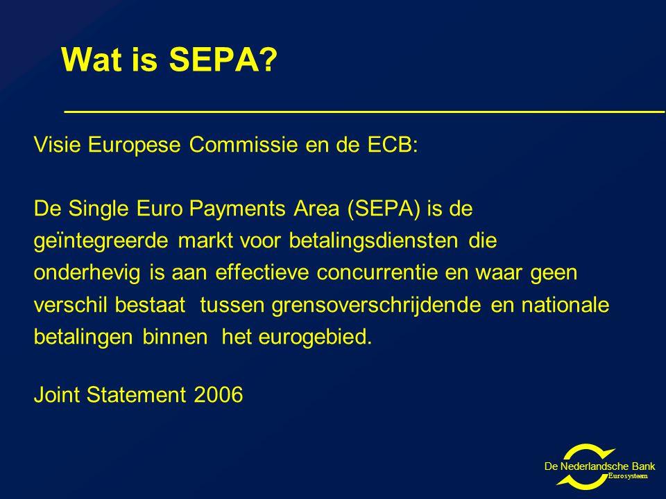 De Nederlandsche Bank Eurosysteem Betalen in SEPA Met Europese betaalproducten geld overmaken naar binnen- en buitenland met hetzelfde niveau van gemak, veiligheid en prijs IBAN en BIC ook voor binnenlandse betalingen Met een betaalpas kan in heel SEPA betaald worden met hetzelfde niveau van gemak, veiligheid en prijs