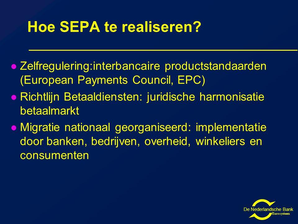 De Nederlandsche Bank Eurosysteem Hoe SEPA te realiseren.