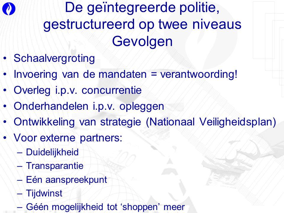 De geïntegreerde politie, gestructureerd op twee niveaus Gevolgen Schaalvergroting Invoering van de mandaten = verantwoording.