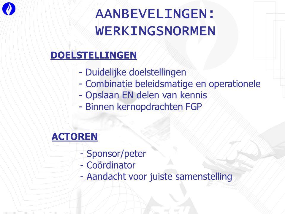 AANBEVELINGEN: WERKINGSNORMEN DOELSTELLINGEN - Duidelijke doelstellingen - Combinatie beleidsmatige en operationele - Opslaan EN delen van kennis - Binnen kernopdrachten FGP ACTOREN - Sponsor/peter - Coördinator - Aandacht voor juiste samenstelling