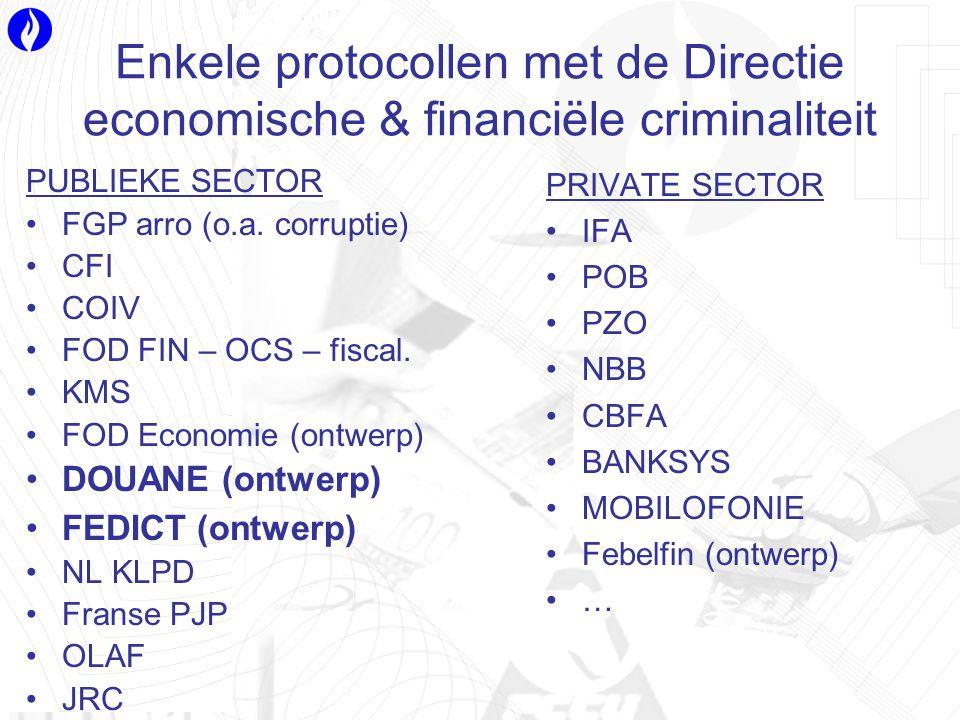 Enkele protocollen met de Directie economische & financiële criminaliteit PUBLIEKE SECTOR FGP arro (o.a.