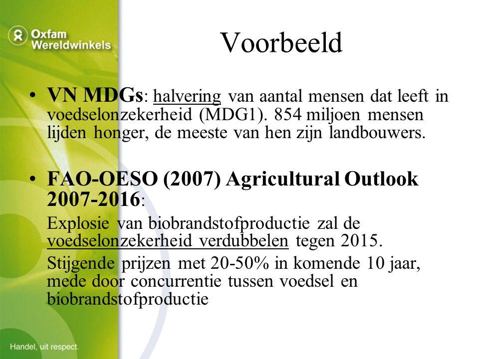 Voorbeeld VN MDGs : halvering van aantal mensen dat leeft in voedselonzekerheid (MDG1).