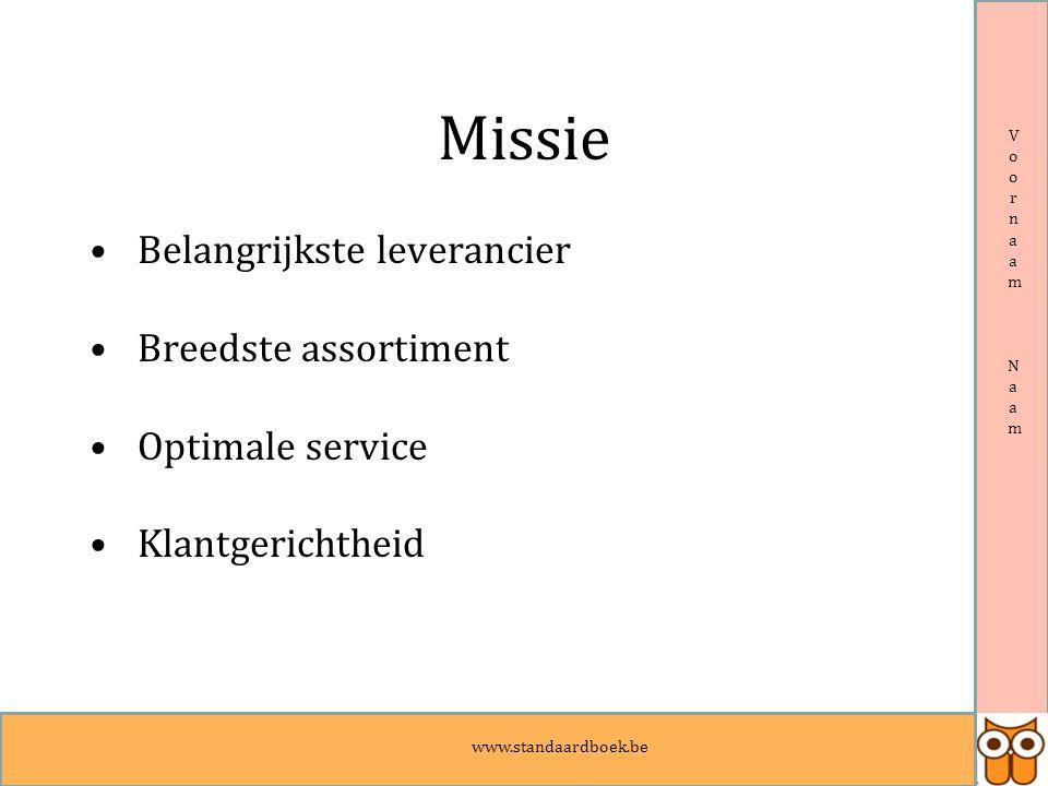 www.standaardboek.be Voornaam NaamVoornaam Naam Missie Belangrijkste leverancier Breedste assortiment Optimale service Klantgerichtheid