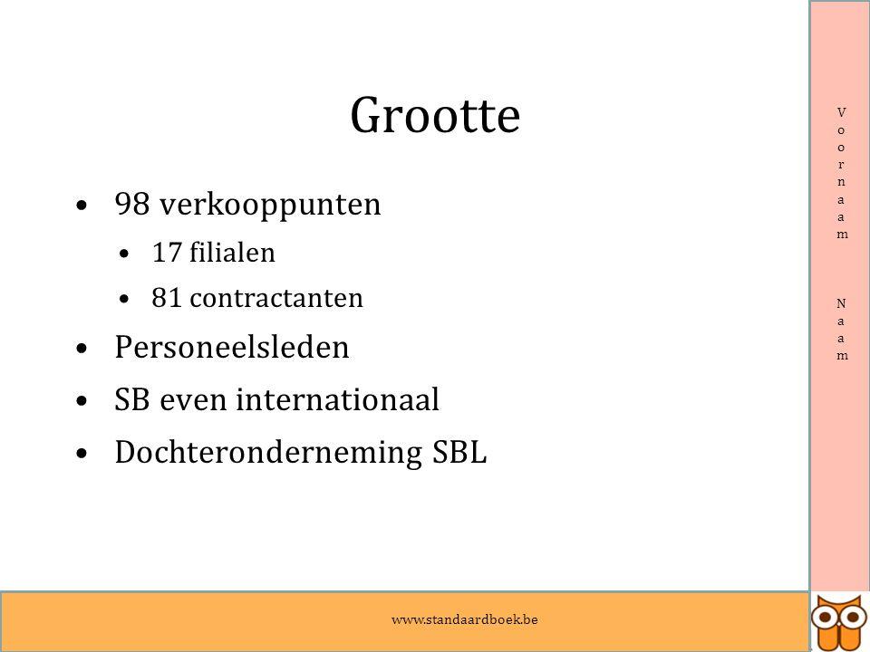Voornaam NaamVoornaam Naam Grootte 98 verkooppunten 17 filialen 81 contractanten Personeelsleden SB even internationaal Dochteronderneming SBL