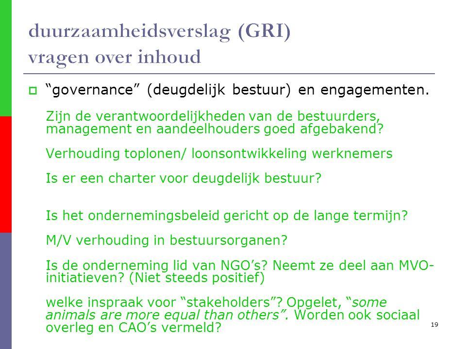 19  governance (deugdelijk bestuur) en engagementen.