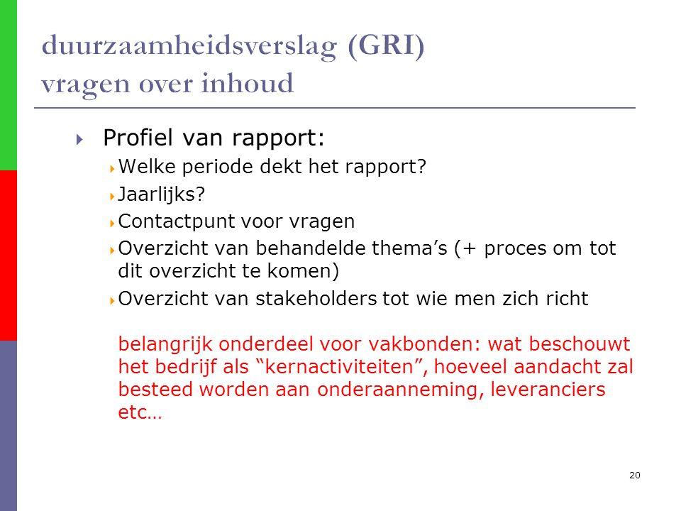 20  Profiel van rapport:  Welke periode dekt het rapport.