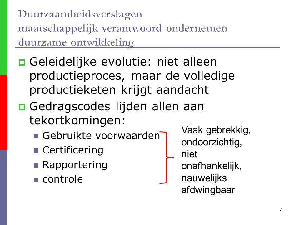 7  Geleidelijke evolutie: niet alleen productieproces, maar de volledige productieketen krijgt aandacht  Gedragscodes lijden allen aan tekortkomingen: Gebruikte voorwaarden Certificering Rapportering controle Vaak gebrekkig, ondoorzichtig, niet onafhankelijk, nauwelijks afdwingbaar
