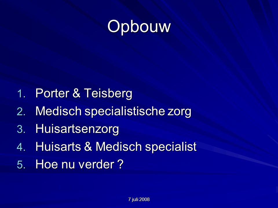 7 juli 2008 Opbouw 1. Porter & Teisberg 2. Medisch specialistische zorg 3.