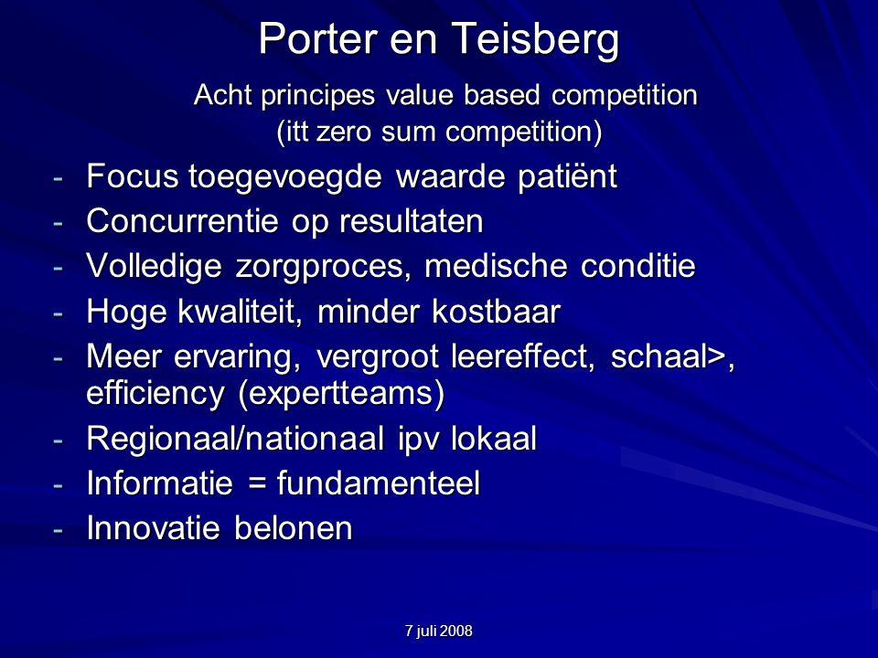 7 juli 2008 Porter en Teisberg Acht principes value based competition (itt zero sum competition) - Focus toegevoegde waarde patiënt - Concurrentie op