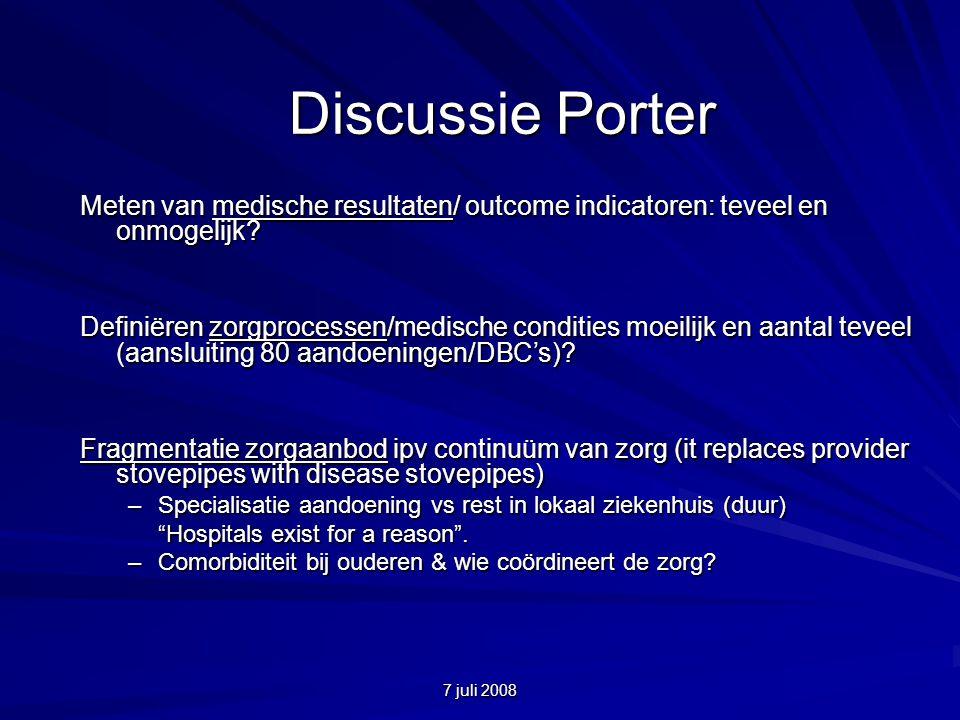 7 juli 2008 Discussie Porter Meten van medische resultaten/ outcome indicatoren: teveel en onmogelijk.