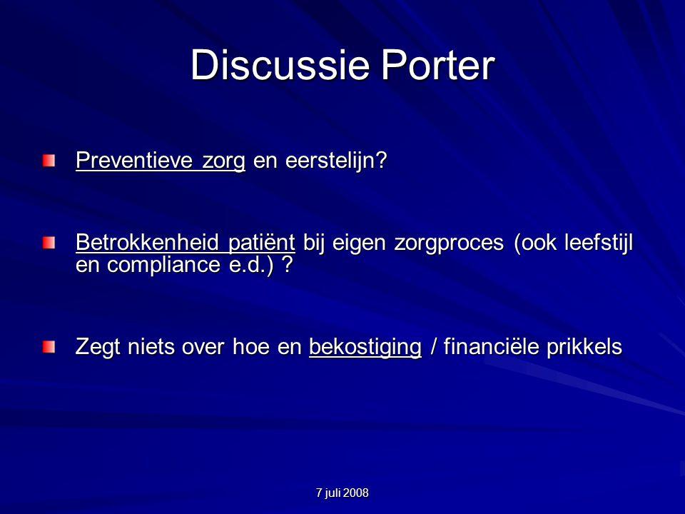 7 juli 2008 Discussie Porter Preventieve zorg en eerstelijn.