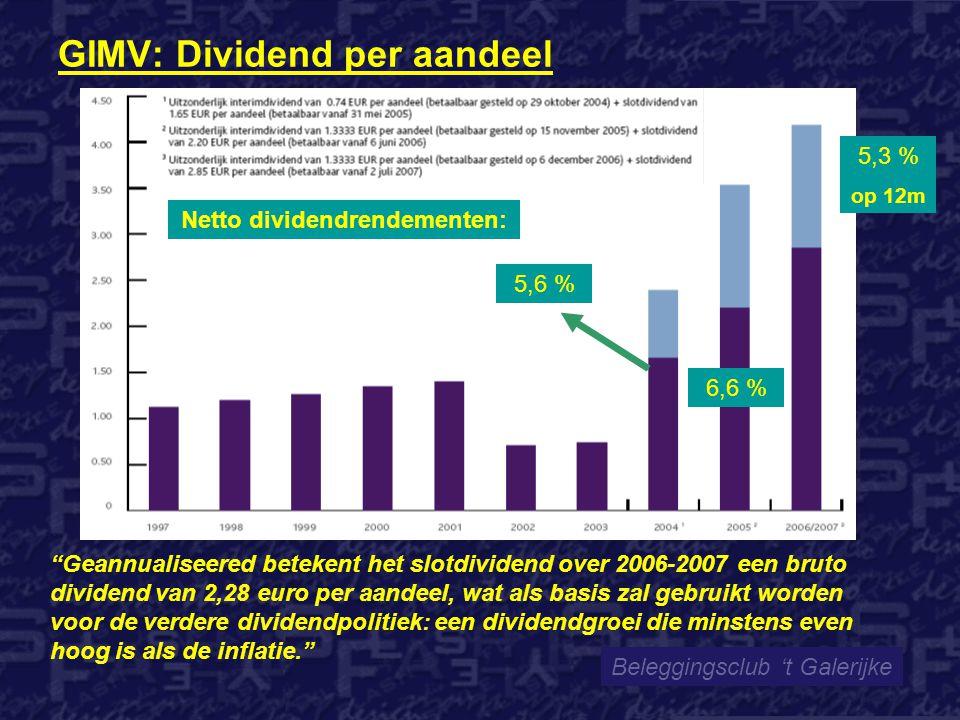 GIMV: Dividend per aandeel Beleggingsclub 't Galerijke Geannualiseered betekent het slotdividend over 2006-2007 een bruto dividend van 2,28 euro per aandeel, wat als basis zal gebruikt worden voor de verdere dividendpolitiek: een dividendgroei die minstens even hoog is als de inflatie. Netto dividendrendementen: 5,6 % 6,6 % 5,3 % op 12m