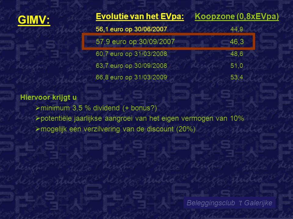 GIMV: Beleggingsclub 't Galerijke Evolutie van het EVpa: 56,1 euro op 30/06/2007 57,9 euro op 30/09/2007 60,7 euro op 31/03/2008 63,7 euro op 30/09/2008 66,8 euro op 31/03/2009 Koopzone (0,8xEVpa) 44,9 46,3 48,6 51,0 53,4 Hiervoor krijgt u  minimum 3,5 % dividend (+ bonus?)  potentiële jaarlijkse aangroei van het eigen vermogen van 10%  mogelijk een verzilvering van de discount (20%)