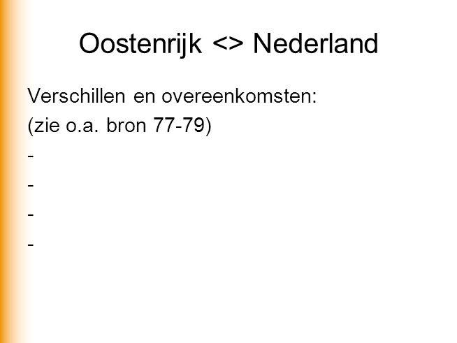 Oostenrijk <> Nederland Verschillen en overeenkomsten: (zie o.a. bron 77-79) -