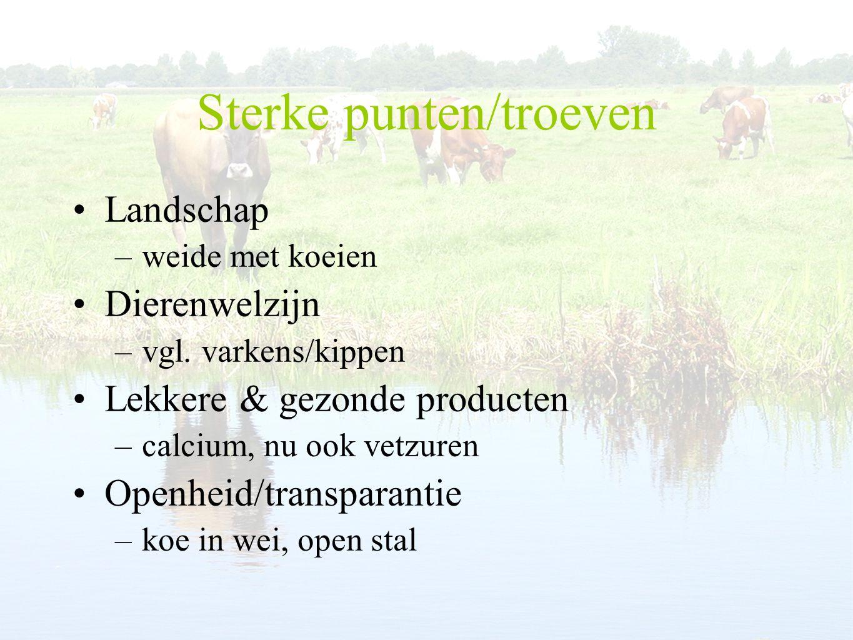 Sterke punten/troeven Landschap –weide met koeien Dierenwelzijn –vgl.
